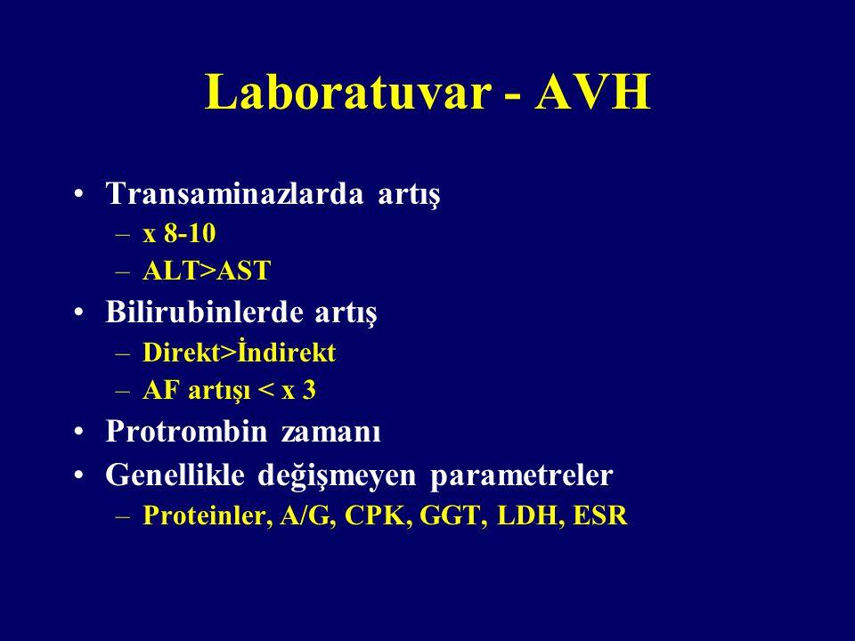 Laboratuvar - AVH Transaminazlarda artış Bilirubinlerde artış