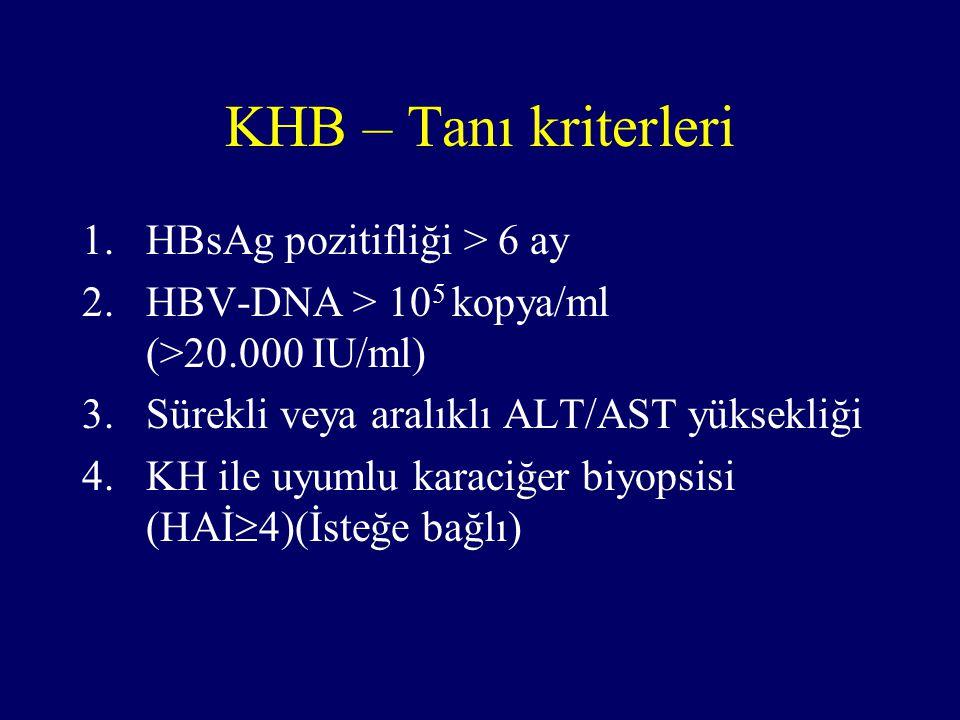 KHB – Tanı kriterleri HBsAg pozitifliği > 6 ay