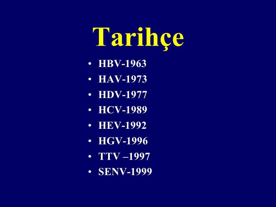 Tarihçe HBV-1963 HAV-1973 HDV-1977 HCV-1989 HEV-1992 HGV-1996