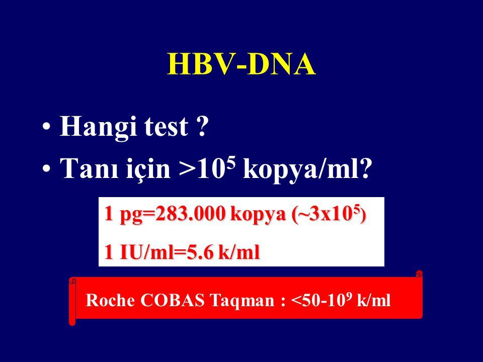 HBV-DNA Hangi test Tanı için >105 kopya/ml
