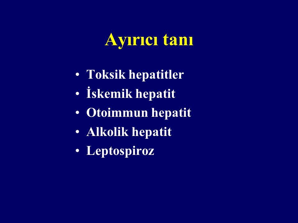 Ayırıcı tanı Toksik hepatitler İskemik hepatit Otoimmun hepatit