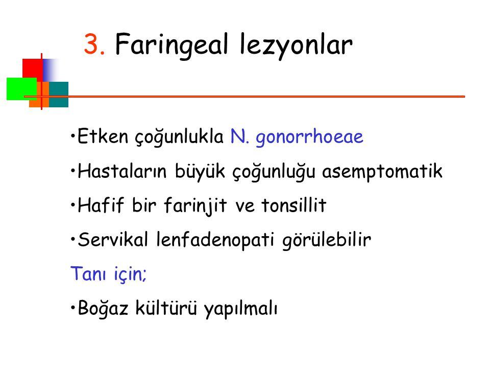 3. Faringeal lezyonlar Etken çoğunlukla N. gonorrhoeae