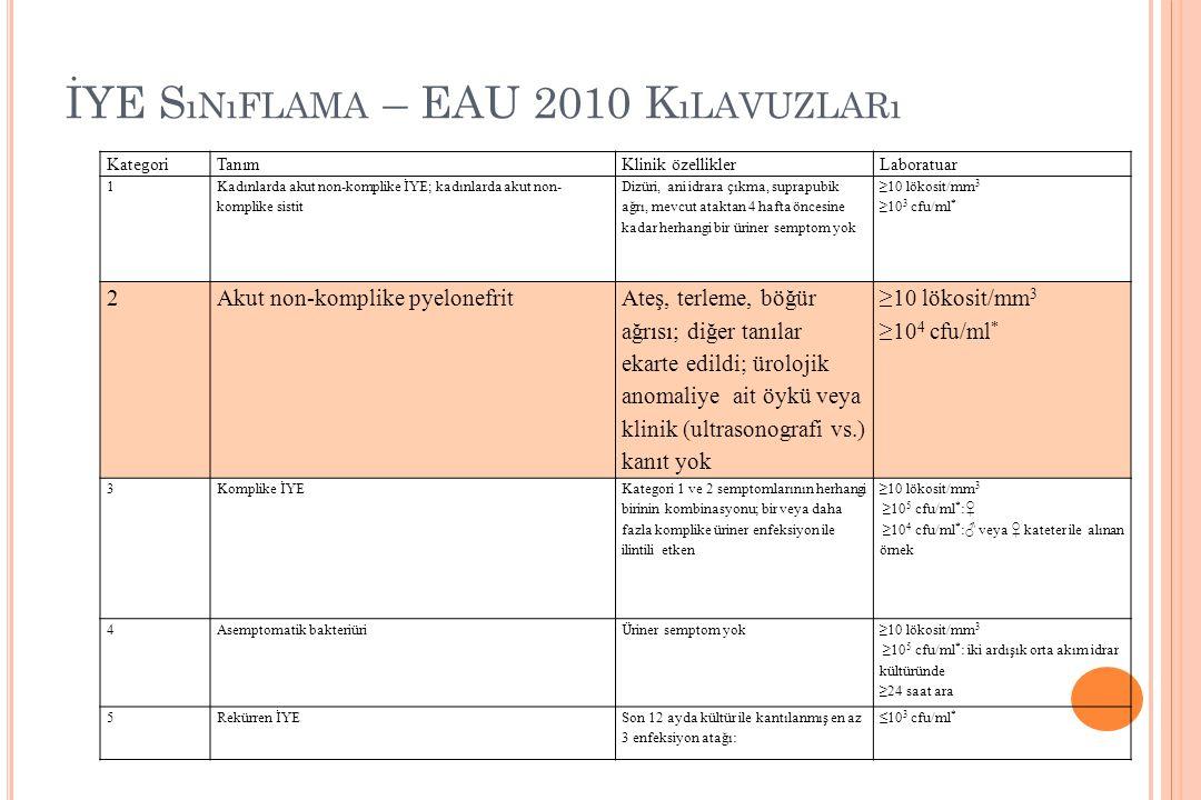 İYE Sınıflama – EAU 2010 Kılavuzları