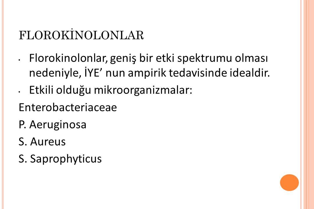 Etkili olduğu mikroorganizmalar: Enterobacteriaceae P. Aeruginosa