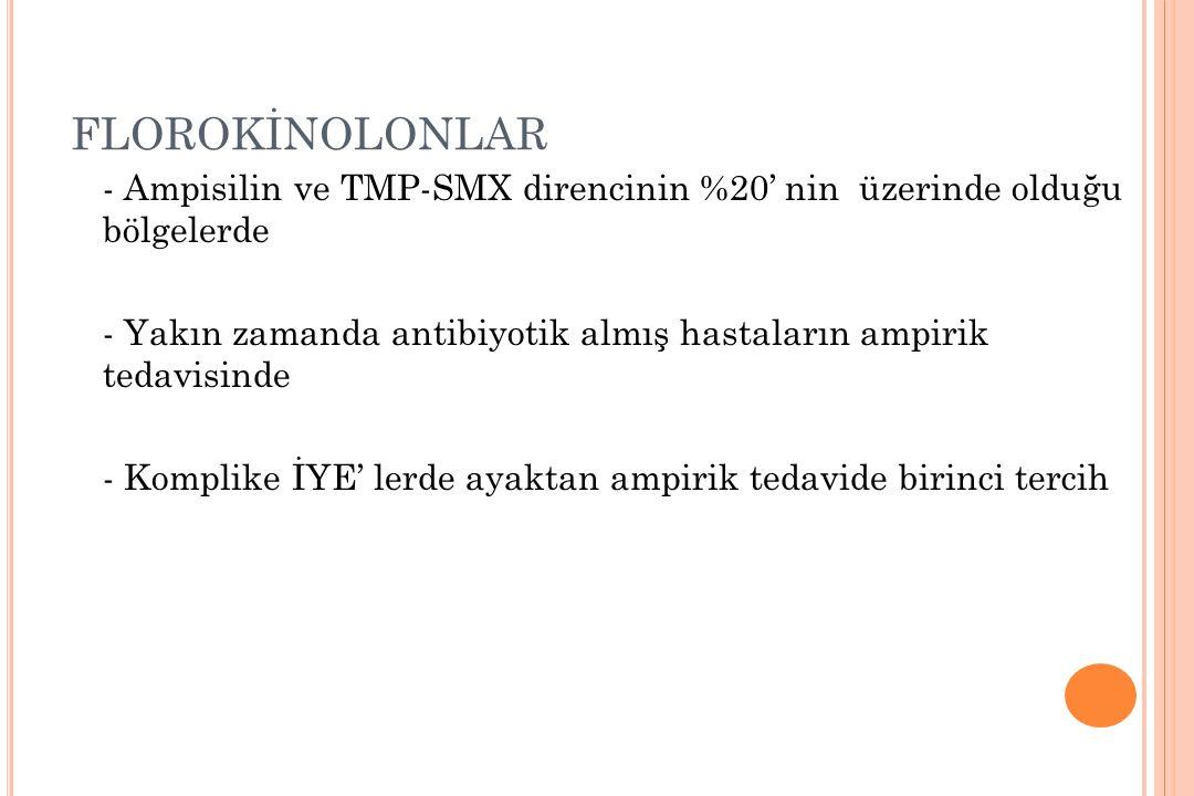 FLOROKİNOLONLAR - Ampisilin ve TMP-SMX direncinin %20' nin üzerinde olduğu bölgelerde.