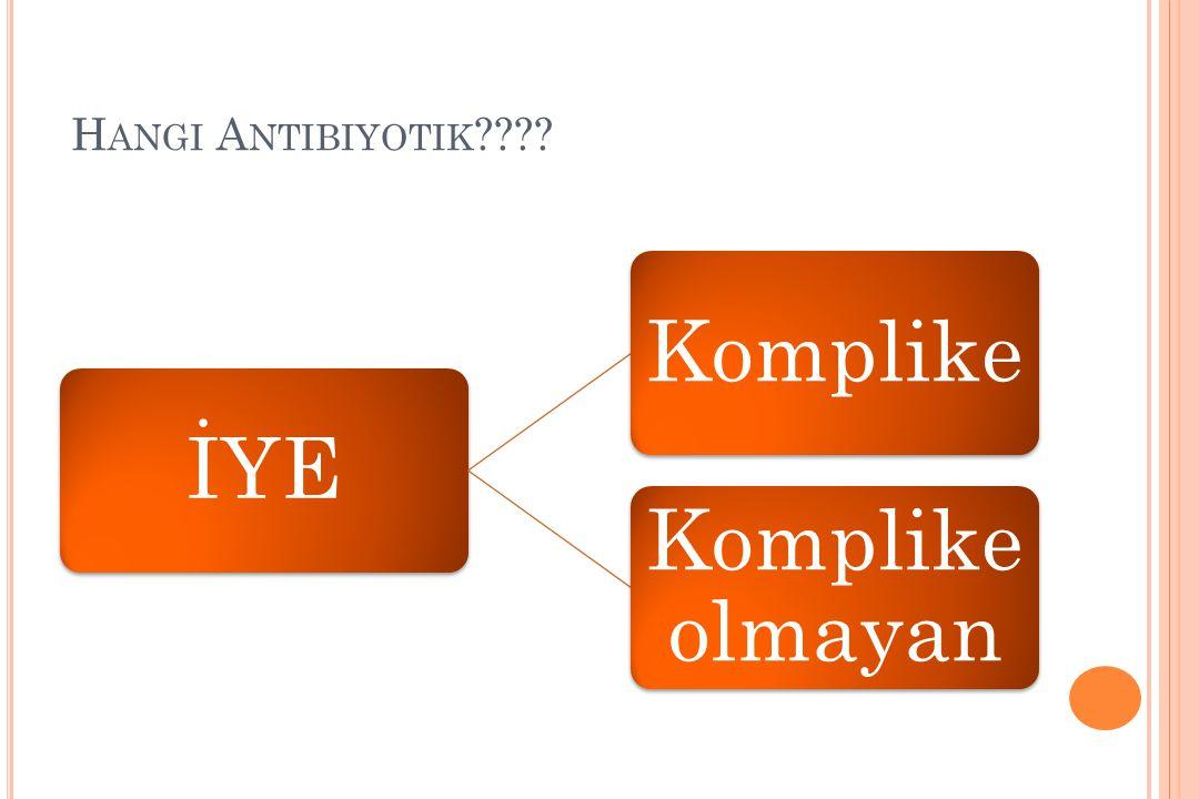 Hangi Antibiyotik İYE. Komplike. Komplike olmayan.