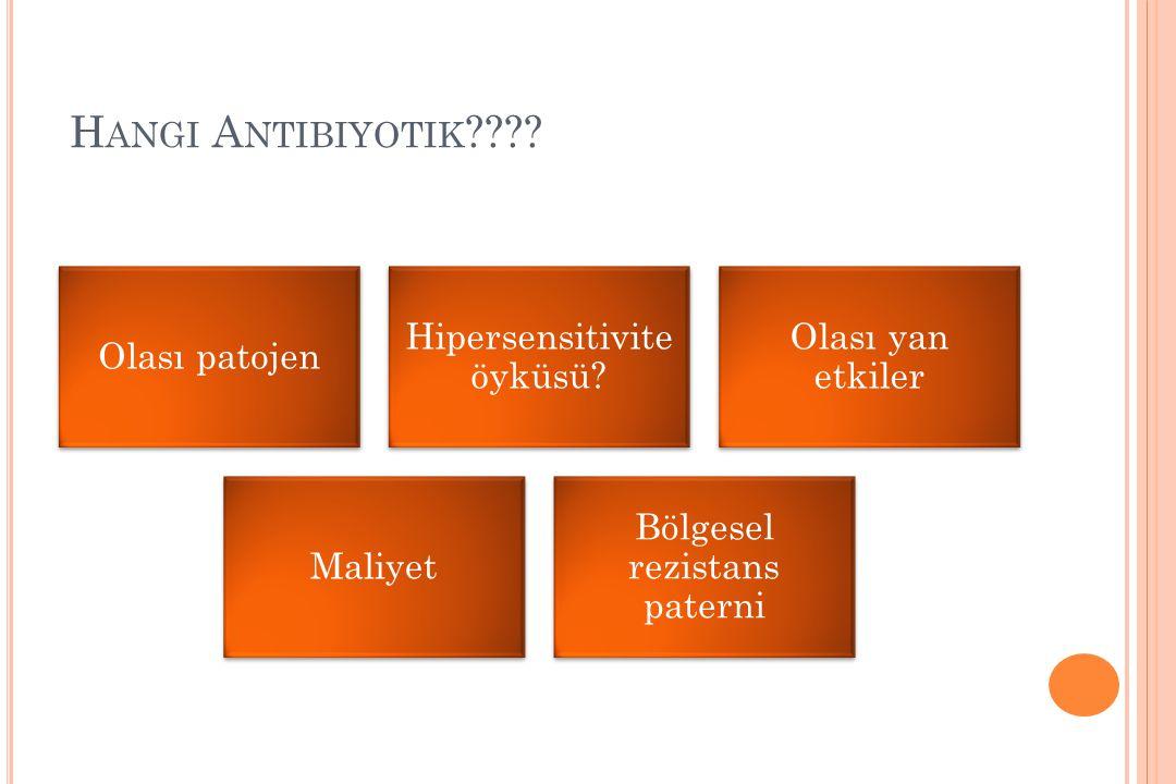 Hangi Antibiyotik Olası patojen. Hipersensitivite öyküsü Olası yan etkiler. Maliyet. Bölgesel rezistans paterni.