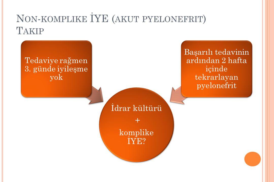 Non-komplike İYE (akut pyelonefrit) Takip