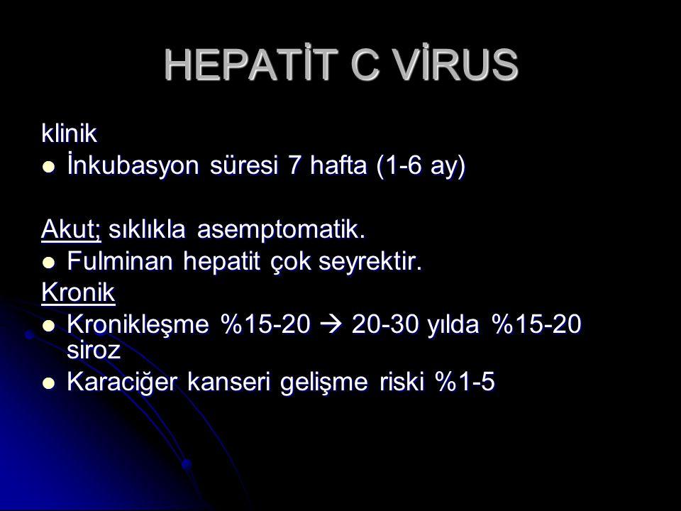 HEPATİT C VİRUS klinik İnkubasyon süresi 7 hafta (1-6 ay)