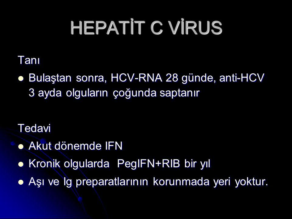 HEPATİT C VİRUS Tanı. Bulaştan sonra, HCV-RNA 28 günde, anti-HCV 3 ayda olguların çoğunda saptanır.