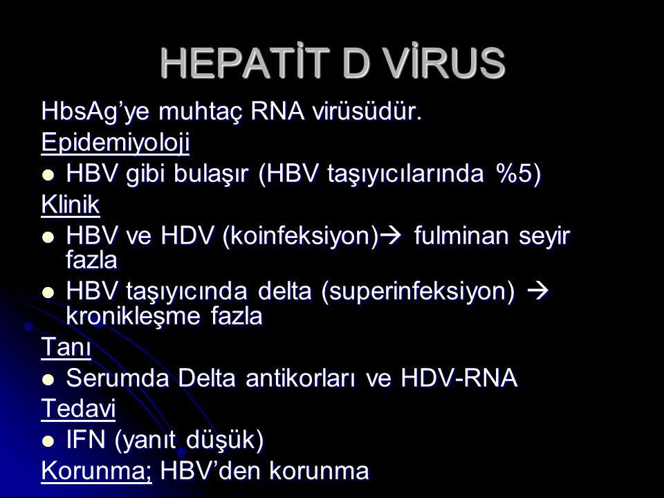 HEPATİT D VİRUS HbsAg'ye muhtaç RNA virüsüdür. Epidemiyoloji