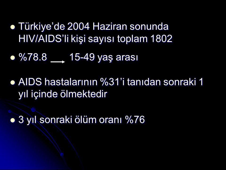 Türkiye'de 2004 Haziran sonunda HIV/AIDS'li kişi sayısı toplam 1802