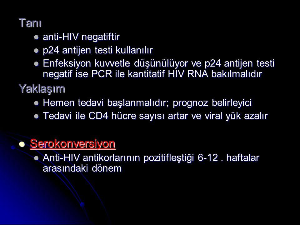 Tanı Yaklaşım Serokonversiyon anti-HIV negatiftir