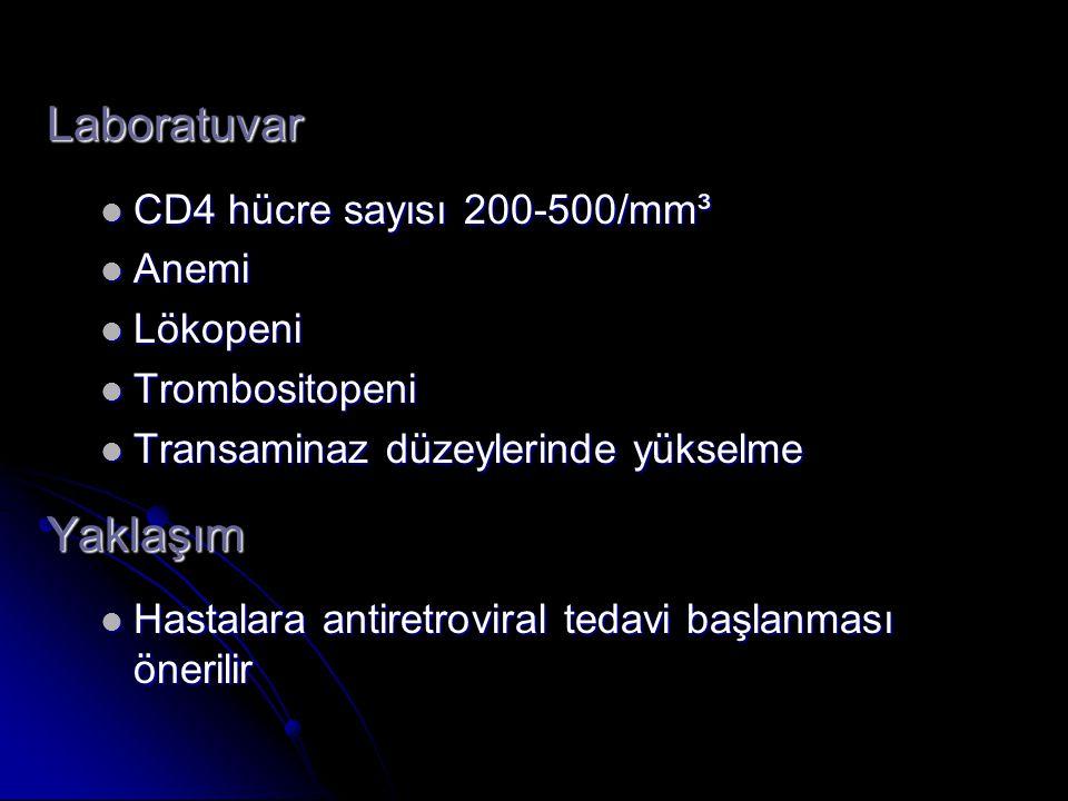 Laboratuvar Yaklaşım CD4 hücre sayısı 200-500/mm³ Anemi Lökopeni