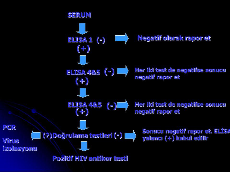 (+) (-) (+) (-) (+) SERUM Negatif olarak rapor et ELISA 1 (-)