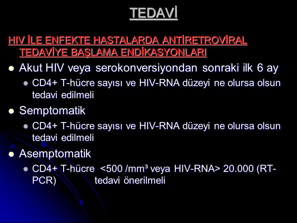 TEDAVİ Akut HIV veya serokonversiyondan sonraki ilk 6 ay Semptomatik