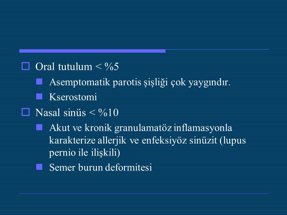 Oral tutulum < %5 Nasal sinüs < %10