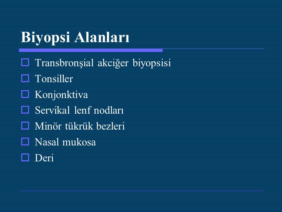 Biyopsi Alanları Transbronşial akciğer biyopsisi Tonsiller Konjonktiva