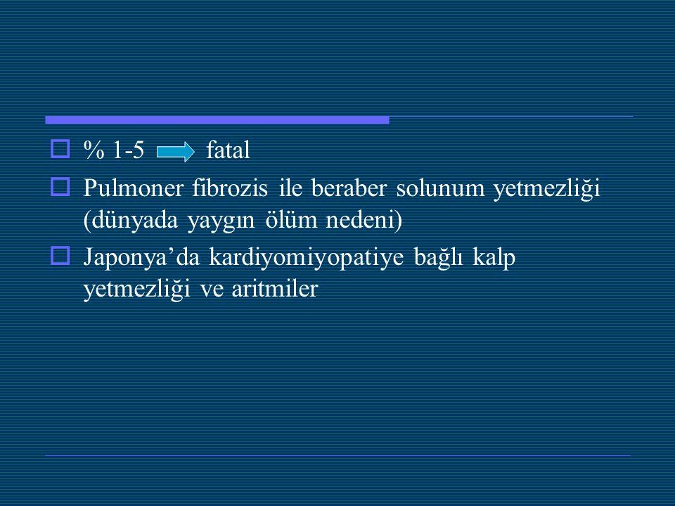 % 1-5 fatal Pulmoner fibrozis ile beraber solunum yetmezliği (dünyada yaygın ölüm nedeni)
