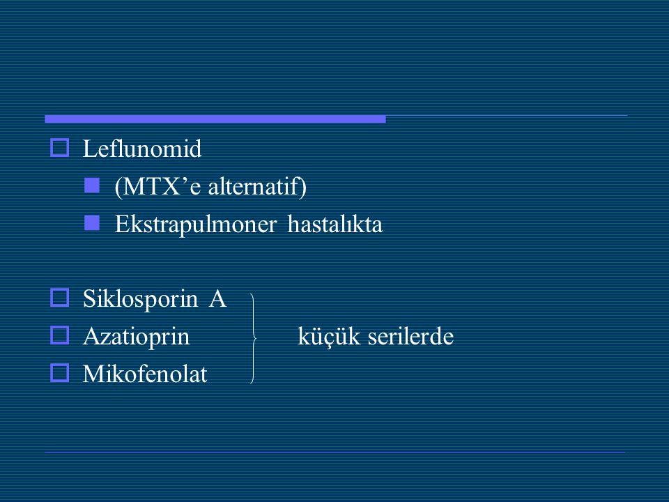 Leflunomid (MTX'e alternatif) Ekstrapulmoner hastalıkta. Siklosporin A. Azatioprin küçük serilerde.