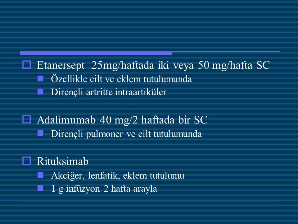 Etanersept 25mg/haftada iki veya 50 mg/hafta SC