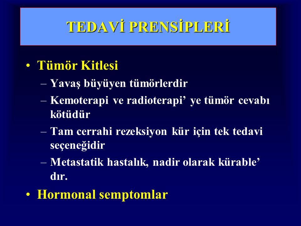 TEDAVİ PRENSİPLERİ Tümör Kitlesi Hormonal semptomlar