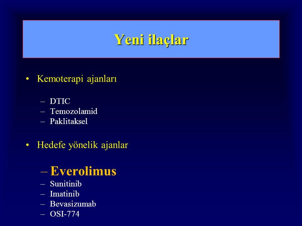 Yeni ilaçlar Everolimus Kemoterapi ajanları Hedefe yönelik ajanlar