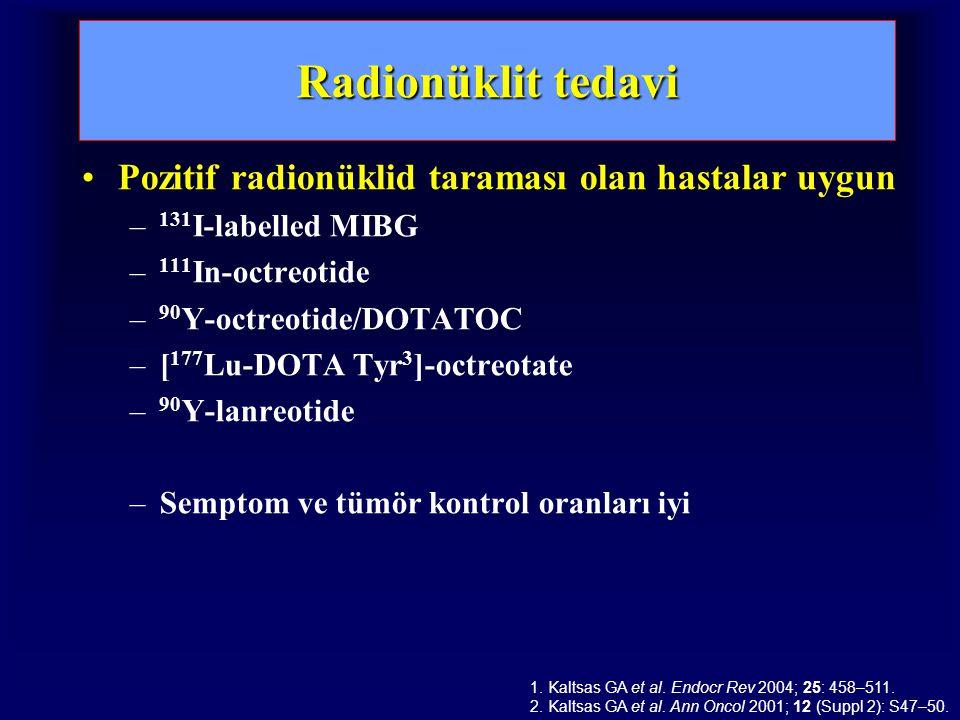Radionüklit tedavi Pozitif radionüklid taraması olan hastalar uygun