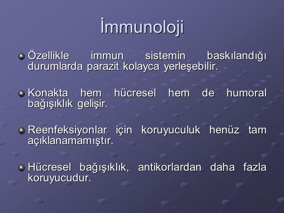 İmmunoloji Özellikle immun sistemin baskılandığı durumlarda parazit kolayca yerleşebilir. Konakta hem hücresel hem de humoral bağışıklık gelişir.