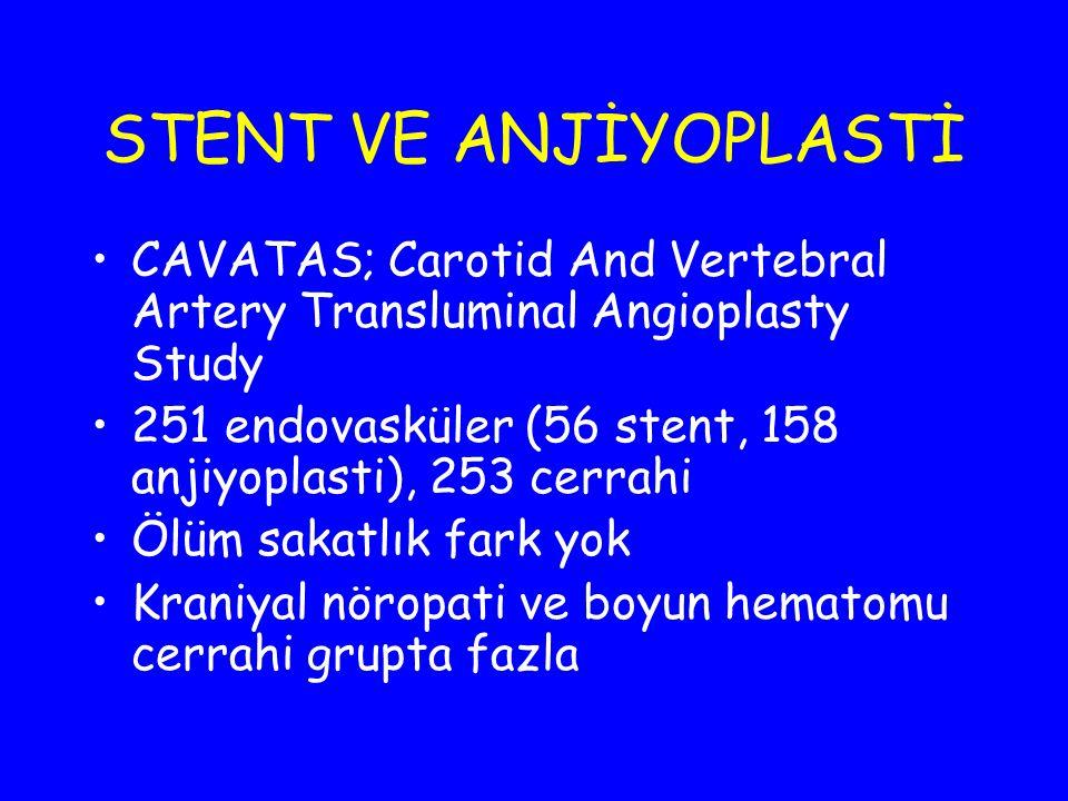 STENT VE ANJİYOPLASTİ CAVATAS; Carotid And Vertebral Artery Transluminal Angioplasty Study.