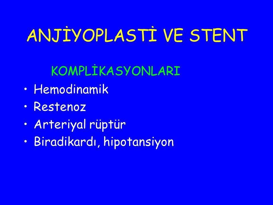 ANJİYOPLASTİ VE STENT KOMPLİKASYONLARI Hemodinamik Restenoz
