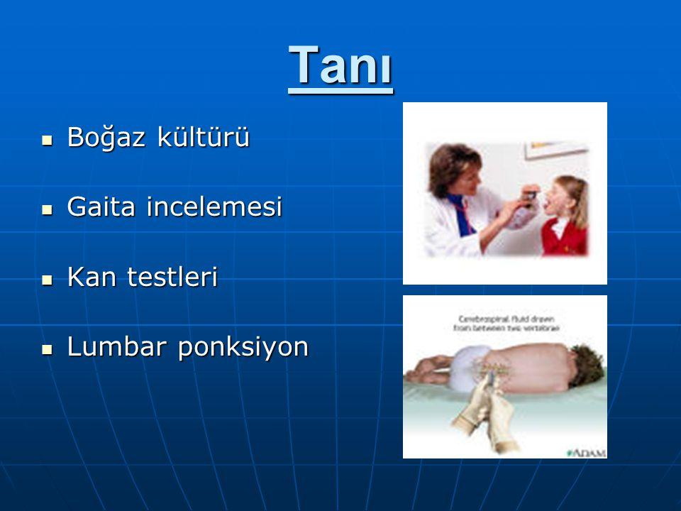 Tanı Boğaz kültürü Gaita incelemesi Kan testleri Lumbar ponksiyon