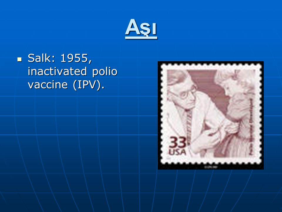 Aşı Salk: 1955, inactivated polio vaccine (IPV).