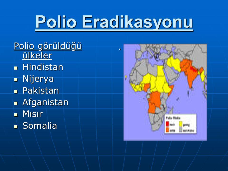 Polio Eradikasyonu Polio görüldüğü ülkeler Hindistan Nijerya Pakistan
