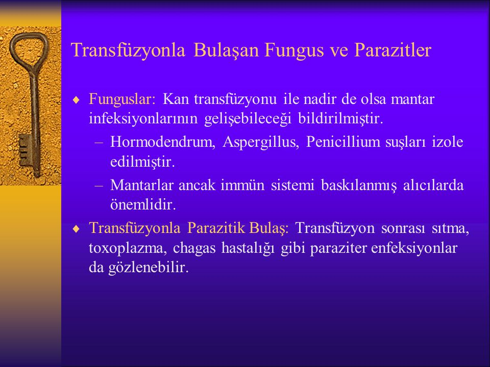 Transfüzyonla Bulaşan Fungus ve Parazitler