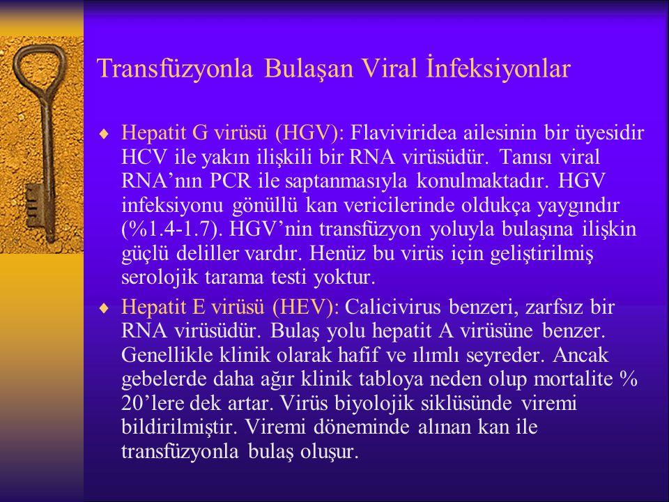 Transfüzyonla Bulaşan Viral İnfeksiyonlar