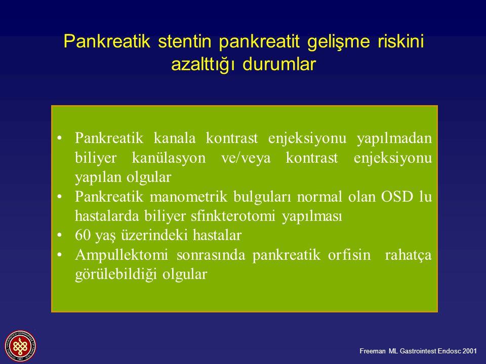 Pankreatik stentin pankreatit gelişme riskini azalttığı durumlar