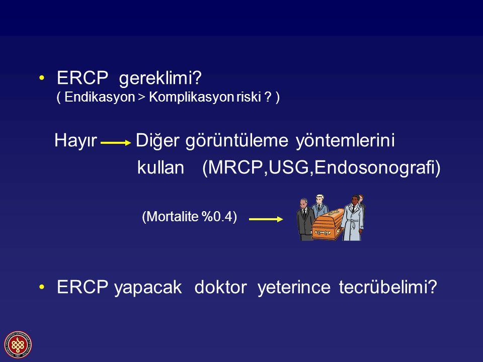 ERCP gereklimi ( Endikasyon > Komplikasyon riski )