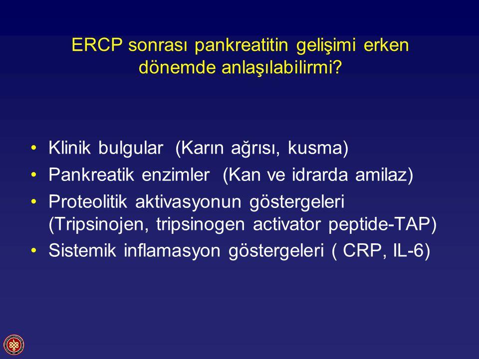 ERCP sonrası pankreatitin gelişimi erken dönemde anlaşılabilirmi