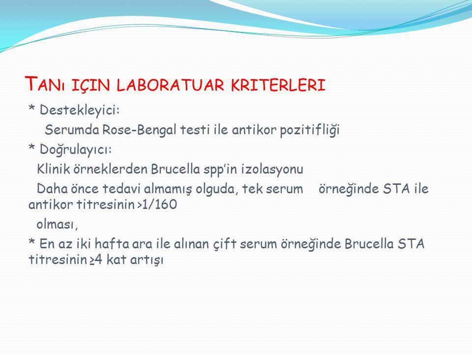Tanı için laboratuar kriterleri