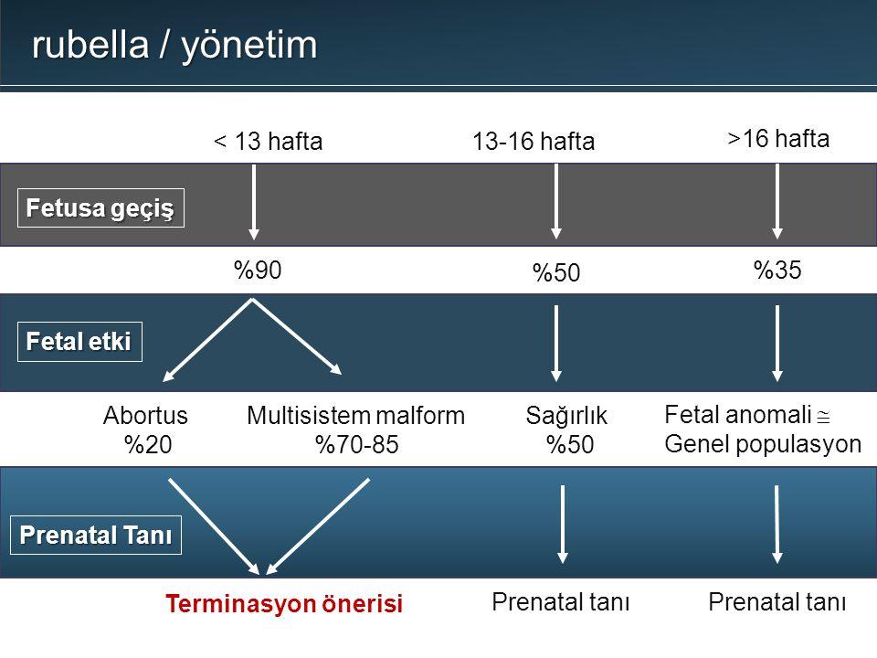 rubella / yönetim < 13 hafta Fetusa geçiş %90 13-16 hafta %50