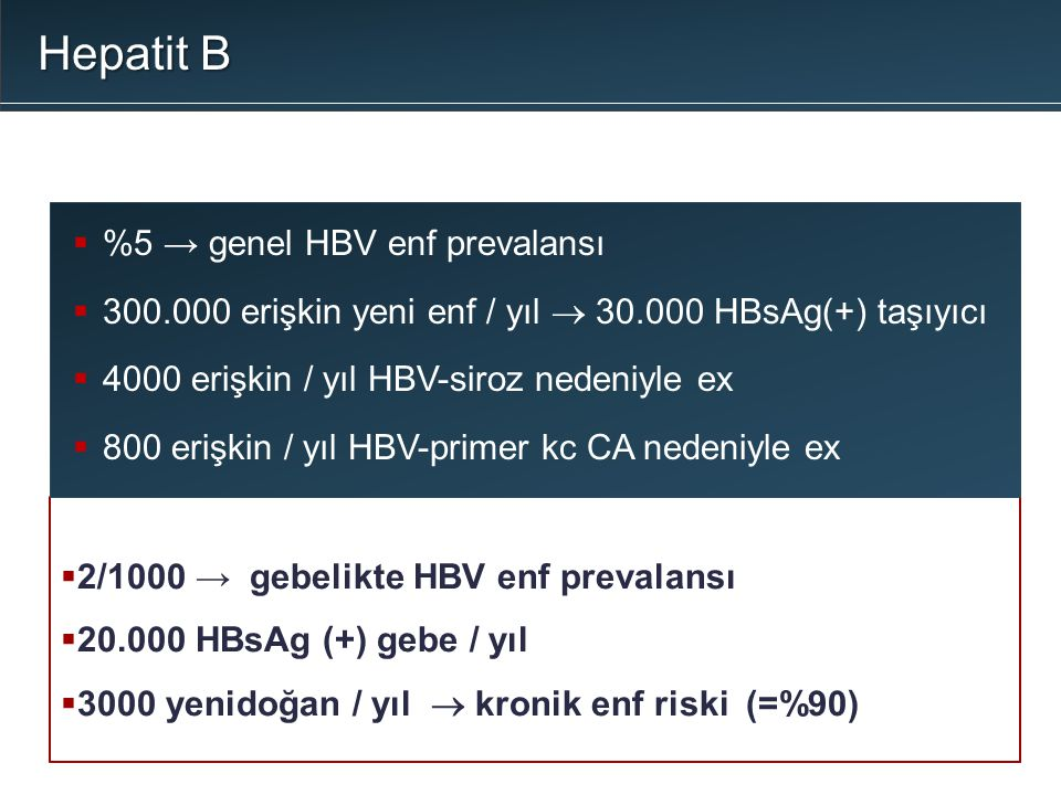 Hepatit B %5 → genel HBV enf prevalansı