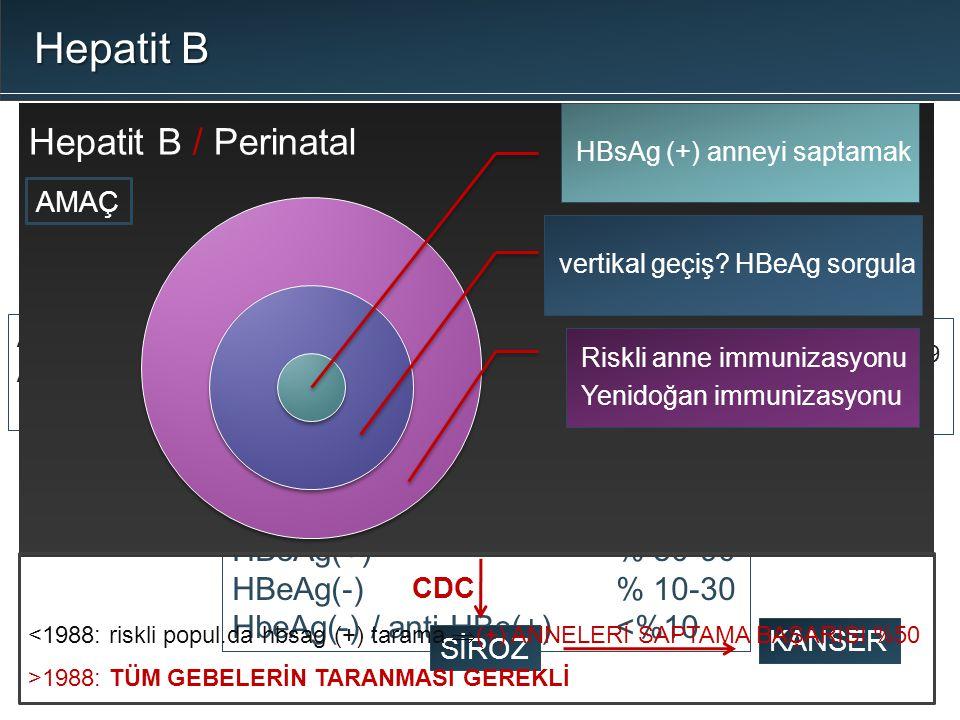 Hepatit B Hepatit B / Perinatal HBV enfeksiyonu ERİŞKİN BEBEK