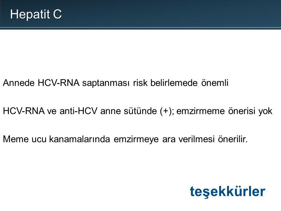 Hepatit C Annede HCV-RNA saptanması risk belirlemede önemli. HCV-RNA ve anti-HCV anne sütünde (+); emzirmeme önerisi yok.