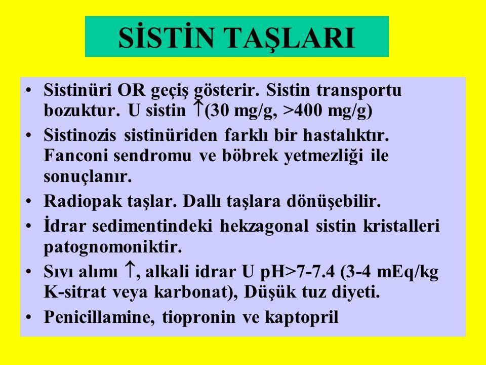 SİSTİN TAŞLARI Sistinüri OR geçiş gösterir. Sistin transportu bozuktur. U sistin (30 mg/g, >400 mg/g)