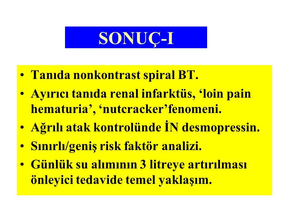 SONUÇ-I Tanıda nonkontrast spiral BT.