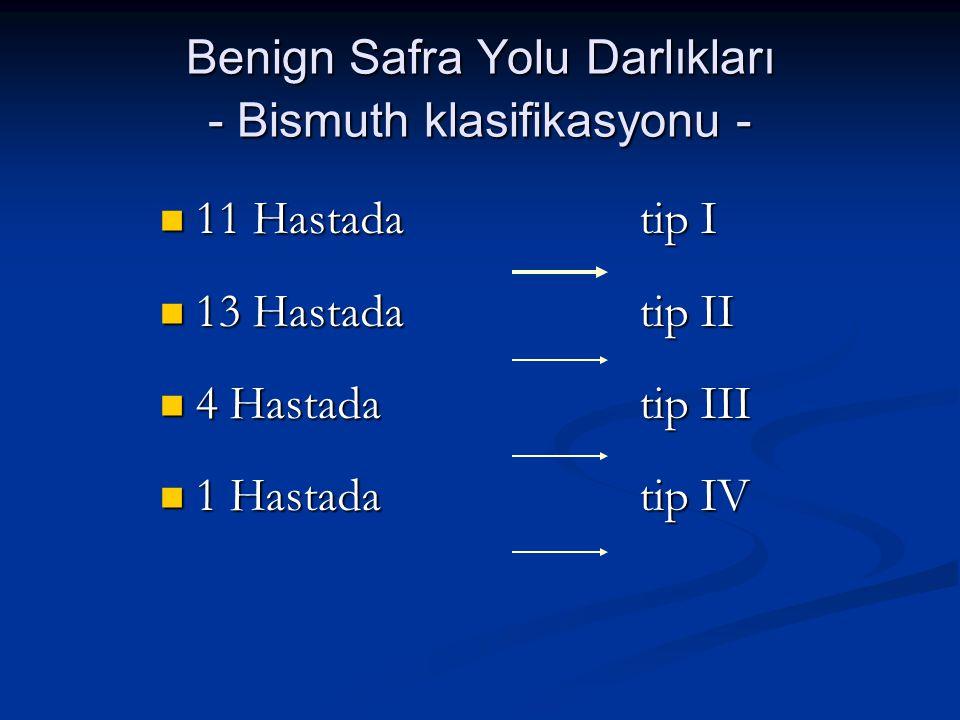 Benign Safra Yolu Darlıkları - Bismuth klasifikasyonu -