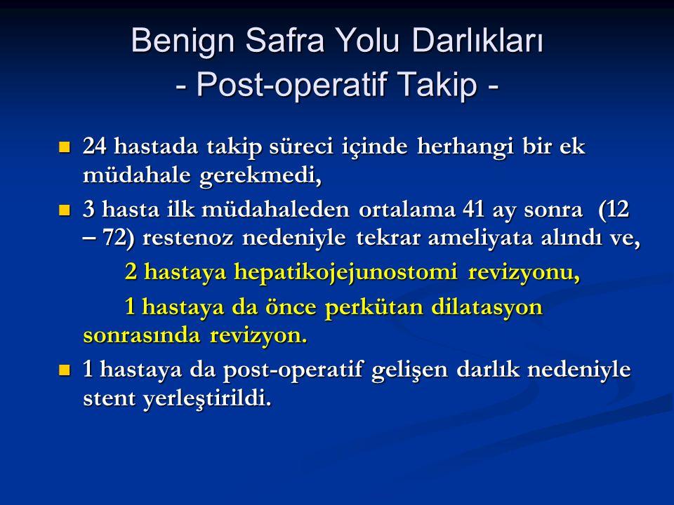 Benign Safra Yolu Darlıkları - Post-operatif Takip -