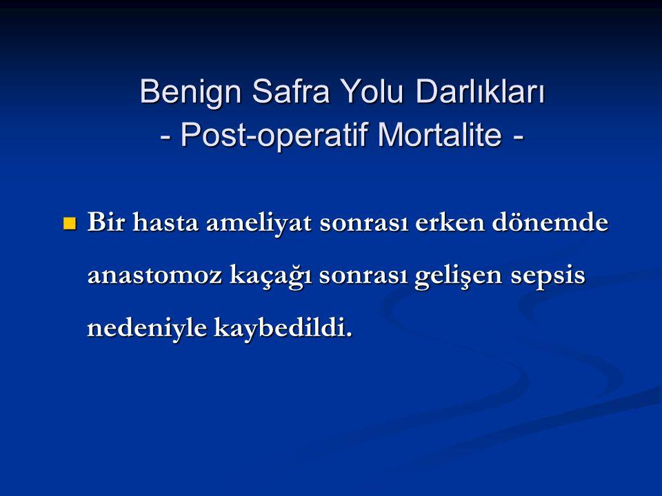 Benign Safra Yolu Darlıkları - Post-operatif Mortalite -