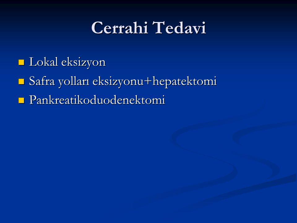 Cerrahi Tedavi Lokal eksizyon Safra yolları eksizyonu+hepatektomi